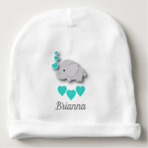 Teal, White and Gray Baby Elephant Baby Beanie