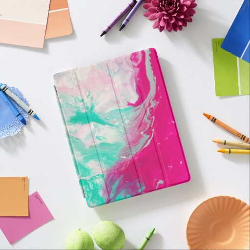 Teal, White, and Pink Paint iPad Smart Cover