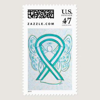 Teal & White Awareness Ribbon Angel Postage Stamp