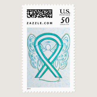 Teal & White Awareness Ribbon Angel Postage Stamp