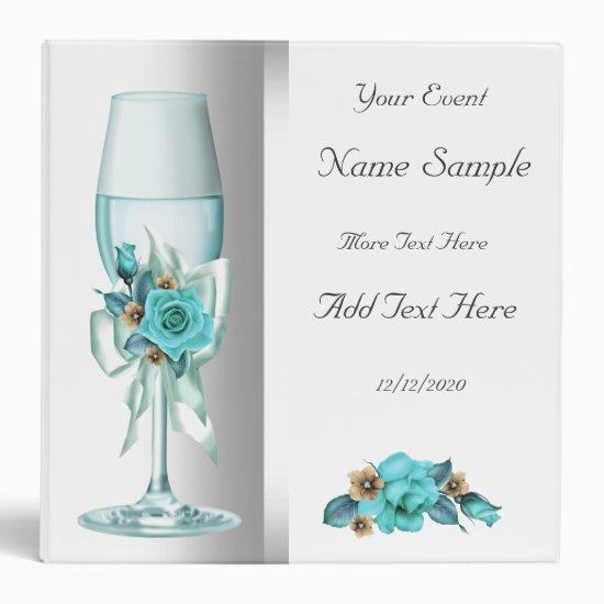 Teal White Beige Rose Binder Photo Album