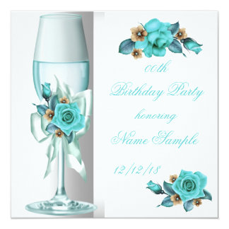 Teal White Beige Rose Champagne Party Invitation