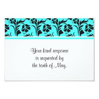 "Teal White Black Floral Wedding RSVP Card 3.5"" X 5"" Invitation Card"