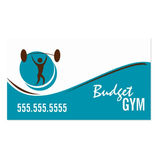 Teal White Brown Gym Work Out Business Card
