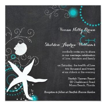 Beach Themed Teal White Chalkboard Beach Wedding Card