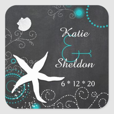 Beach Themed Teal   White Chalkboard Beach Wedding Square Sticker