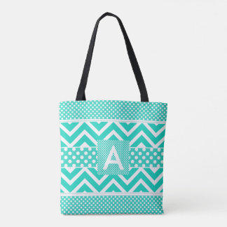 Teal White Chevron and Polka Dots Monogrammed Tote Bag