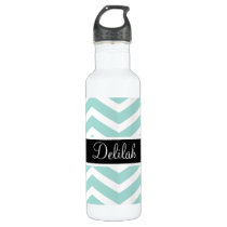 Teal White Chevron Black Name Stainless Steel Water Bottle