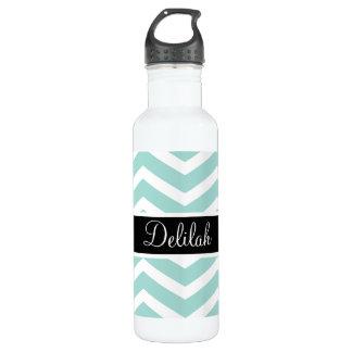 Teal White Chevron Black Name Stainless Steel Water Bottle