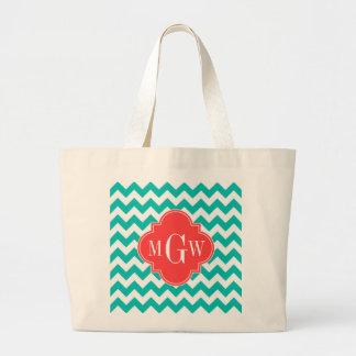 Teal White Chevron Coral Quatrefoil 3 Monogram Canvas Bag