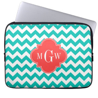 Teal White Chevron Coral Quatrefoil 3 Monogram Laptop Sleeve