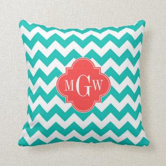 Teal White Chevron Coral Quatrefoil 3 Monogram Pillow