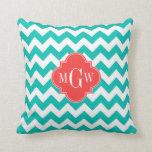 Teal White Chevron Coral Quatrefoil 3 Monogram Throw Pillow