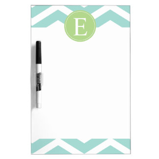 Teal White Chevron Green Monogram Dry-Erase Board