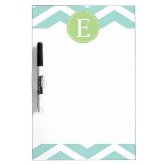 Teal White Chevron Green Monogram Dry-Erase Whiteboard