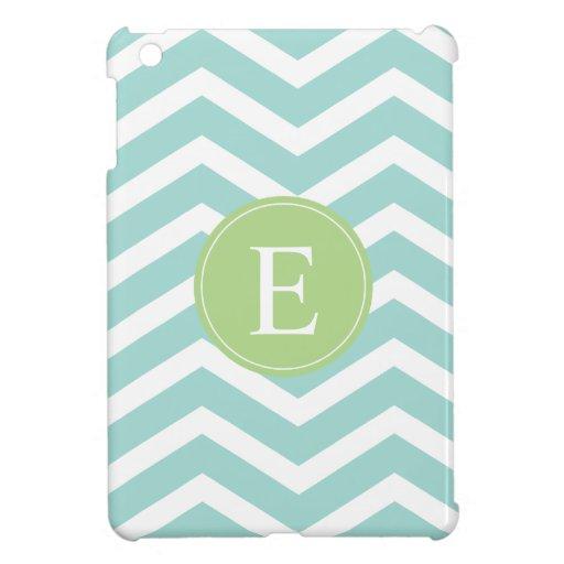 Teal White Chevron Green Monogram iPad Mini Case