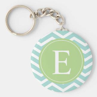 Teal White Chevron Green Monogram Keychain