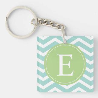 Teal White Chevron Green Monogram Acrylic Key Chains