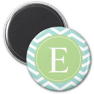 Teal White Chevron Green Monogram Magnet