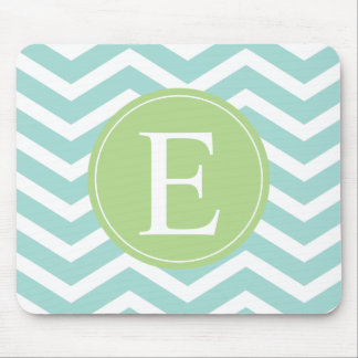 Teal White Chevron Green Monogram Mouse Pad