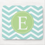 Teal White Chevron Green Monogram Mouse Pads