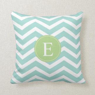 Teal White Chevron Green Monogram Pillow