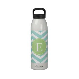 Teal White Chevron Green Monogram Drinking Bottle