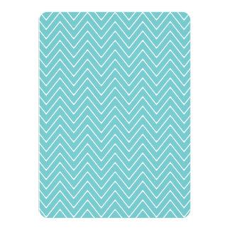 Teal White Chevron Pattern 2A 5.5x7.5 Paper Invitation Card