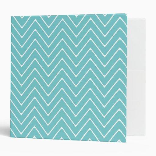 Teal White Chevron Pattern 2A Vinyl Binder