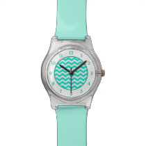 Teal White Chevron Wrist Watch