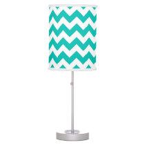 Teal White Chevron Zig-Zag Pattern Desk Lamp