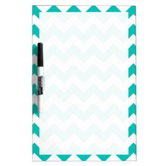 Teal White Chevron Zig-Zag Pattern Dry-Erase Whiteboards