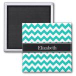 Teal White Chevron ZigZag Black Name Monogram 2 Inch Square Magnet