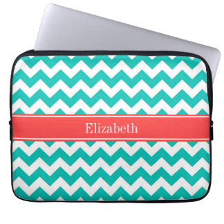 Teal White Chevron ZigZag Coral Name Monogram Computer Sleeve