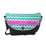 Teal White Chevron ZigZag Hot Pink Name Monogram Courier Bags