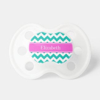 Teal White Chevron ZigZag Hot Pink Name Monogram Pacifier