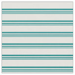 [ Thumbnail: Teal & White Colored Lined Pattern Fabric ]