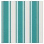 [ Thumbnail: Teal & White Colored Lines Fabric ]