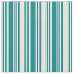 [ Thumbnail: Teal & White Colored Stripes Fabric ]