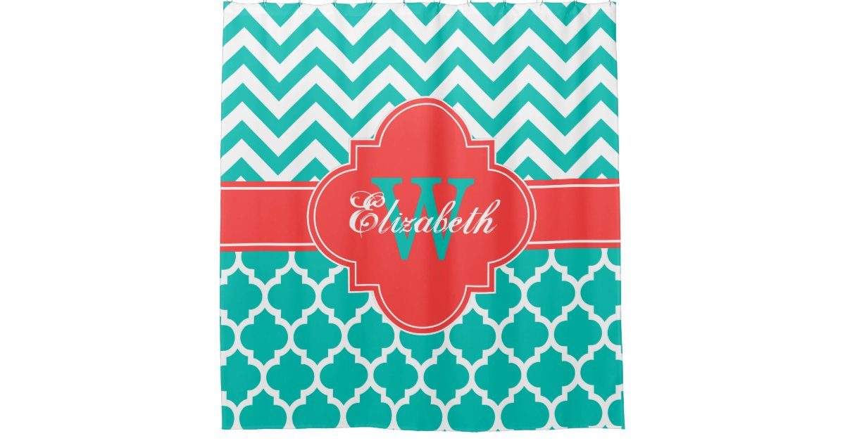 Teal White Coral Red Moroccan 5 Chevron 1IQRN Shower