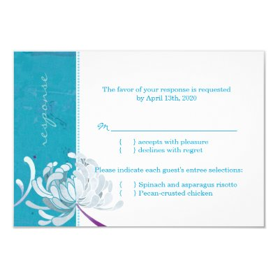Teal & White Cute Asian Mum Wedding RSVP 3.5x5 Paper Invitation Card