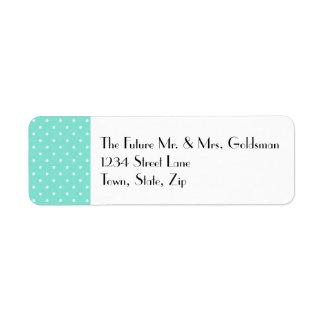 Teal & White Dots Address Label, LEFT Design Label
