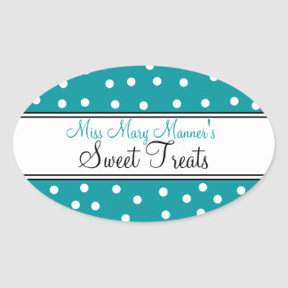 Teal & White Dots-Business Logo-Sweets Oval Sticker