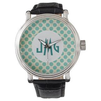 Teal White Dots Monogram Vintage Strap Watch