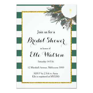 Teal White Floral Bridal Shower Invitation