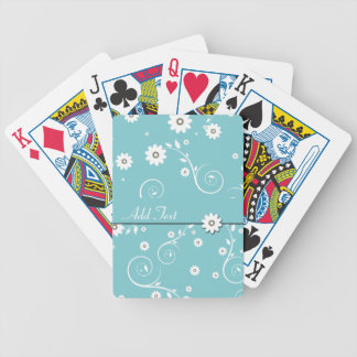 Teal White Floral Customizable Playing Cards