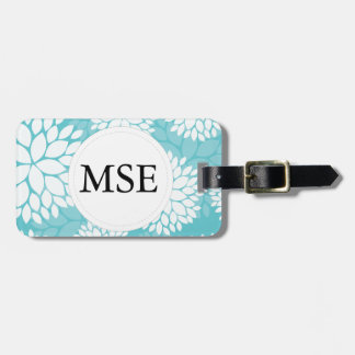 Teal White Floral Pattern Luggage Tag