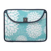 Teal White Floral Pattern MacBook Pro Sleeve