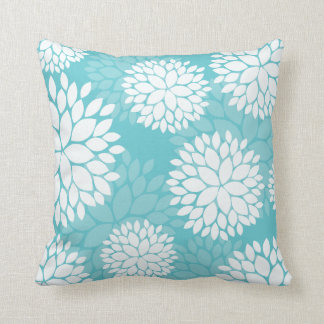 Teal White Floral Pattern Pillow