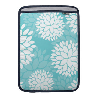 Teal White Floral Pattern Sleeve For MacBook Air